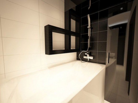 black and white small apartment bathroom decor