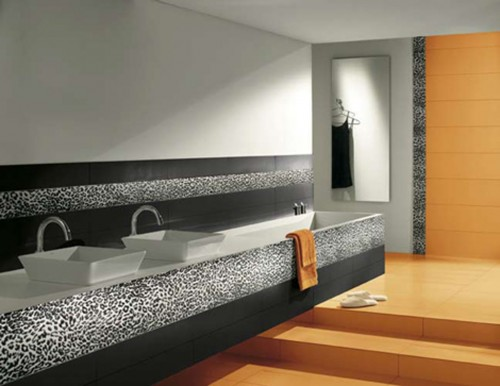 black and white tiled bathroom. lack and white tile design