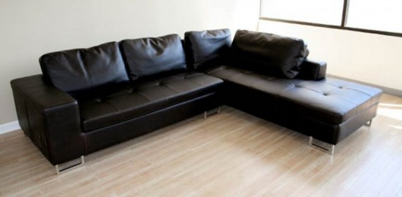 black leather sofa design