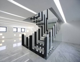 black white staircase decoration