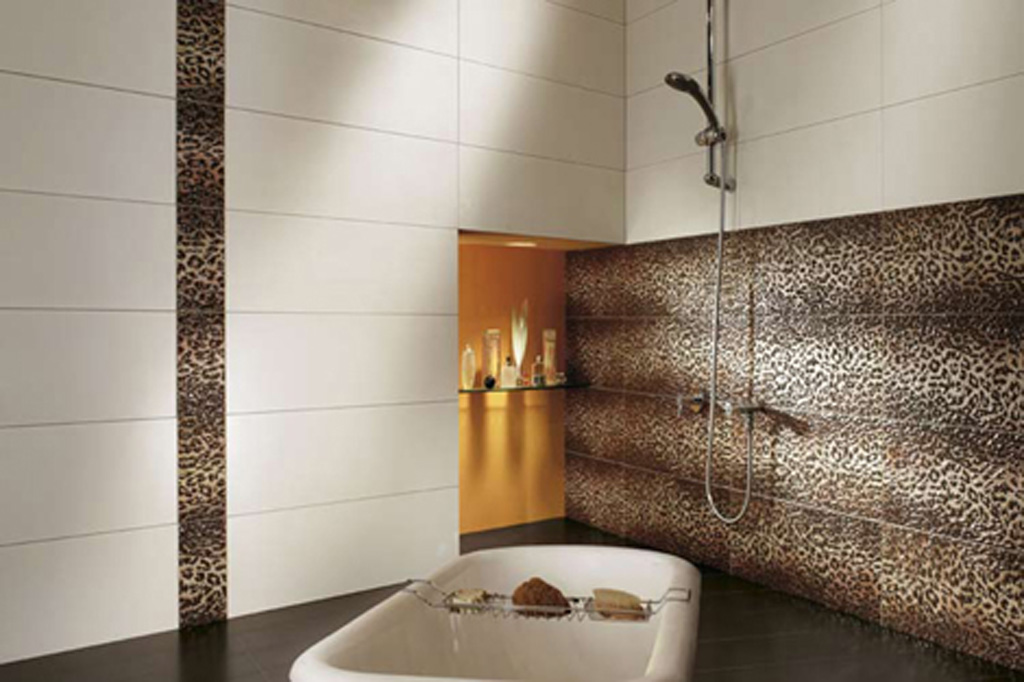 Decorative animal print tile decor for Decorative bathroom wall tile designs
