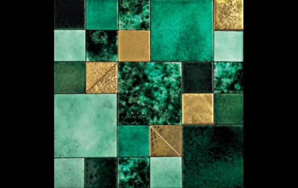 green bathroom tile idea