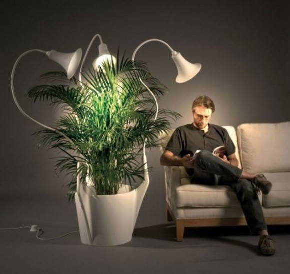 integrated planter and lamps furniture