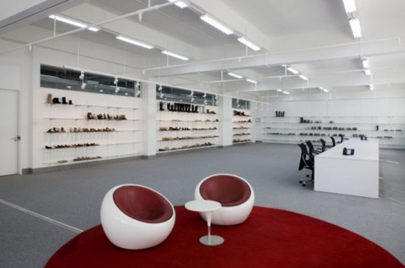 minimalist footwear showroom design
