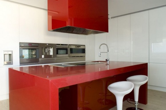 red minimalist kitchen design