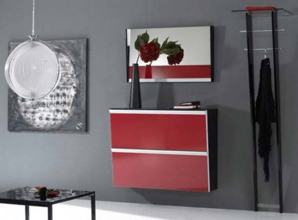 red modern storage design