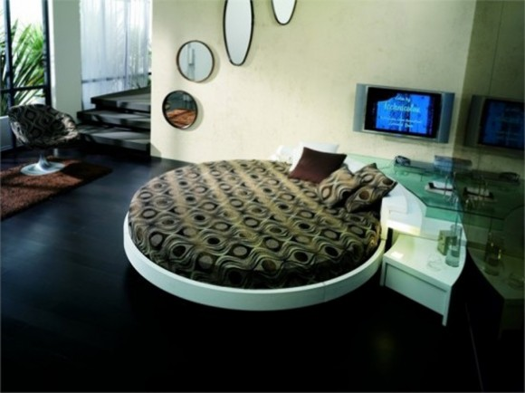 round leather bed ideas