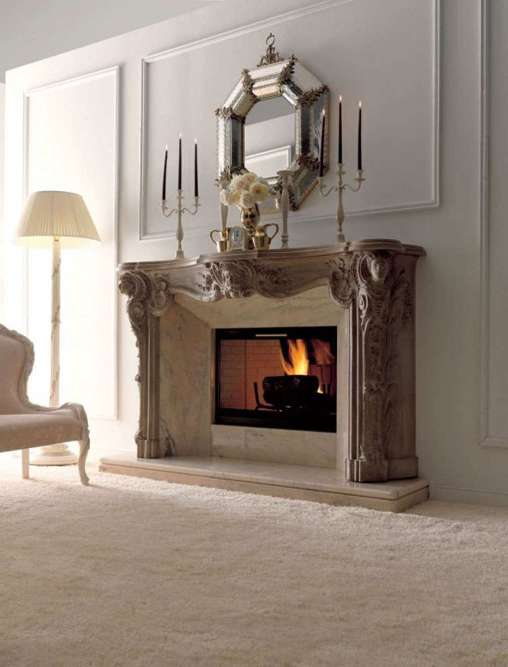 Ceramic fireplace decorating plans for Living room fireplace designs