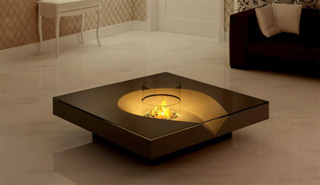 Coffee table fireplace ideas for Unique center table designs