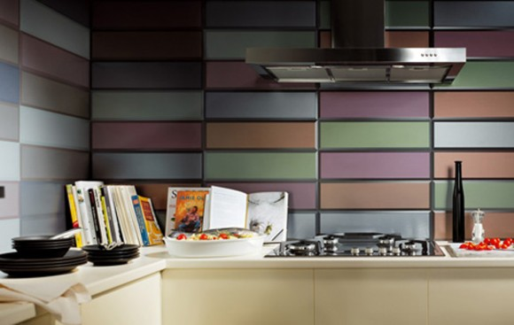 colorful kitchen wall tile idea