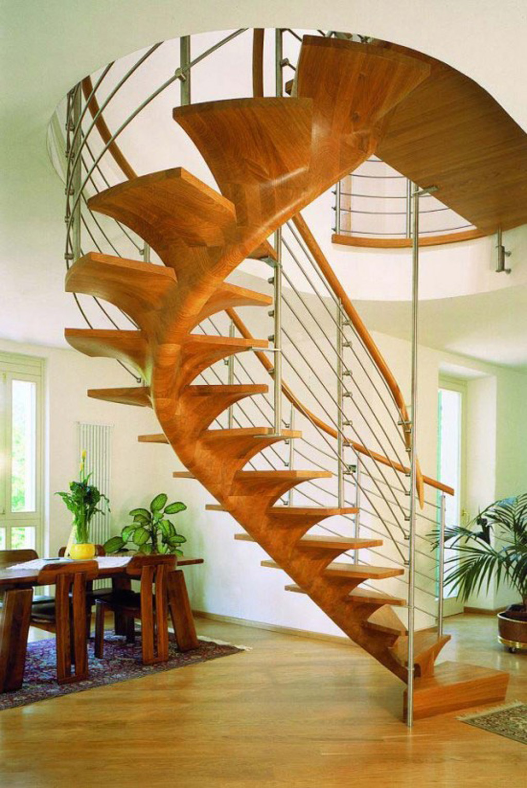 Modern spiral staircase construction idea with wood and for Spiral stair design