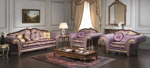 Living-room-in-classic-style-with-lilac-golden-sofa-armchair-wood-floor-table-and-carpet