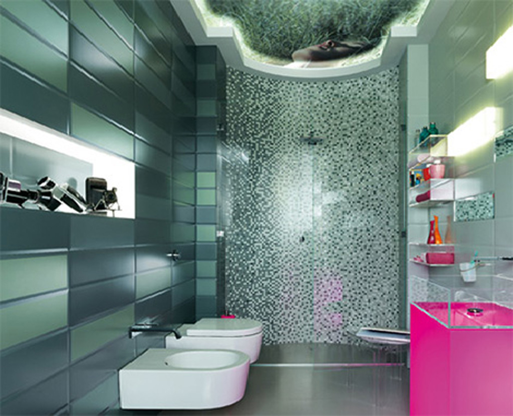 Glass bathroom wall tile decor for Modern bathroom wall tile designs