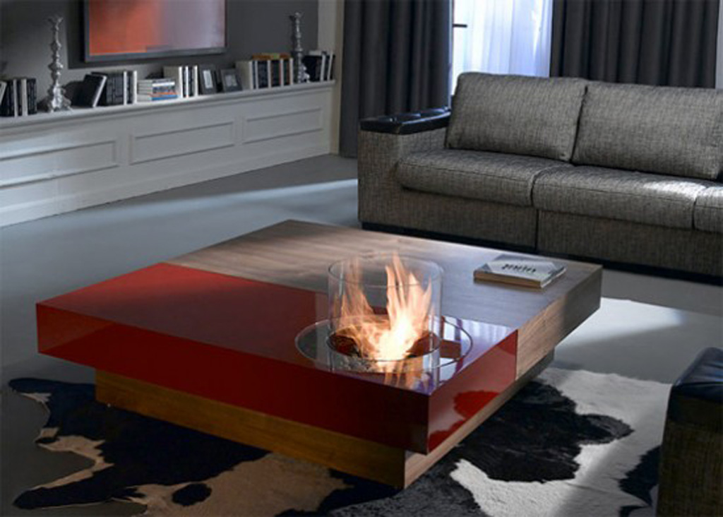 Best Wooden Coffee Tables Design with Built-in Fireplace Décor ...