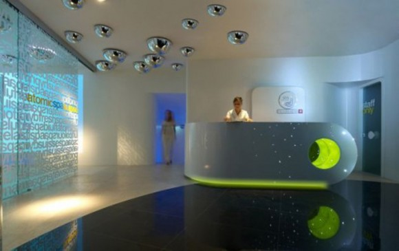 modern spa front desk decor