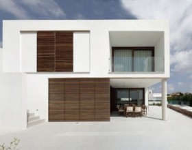 modern white block house idea