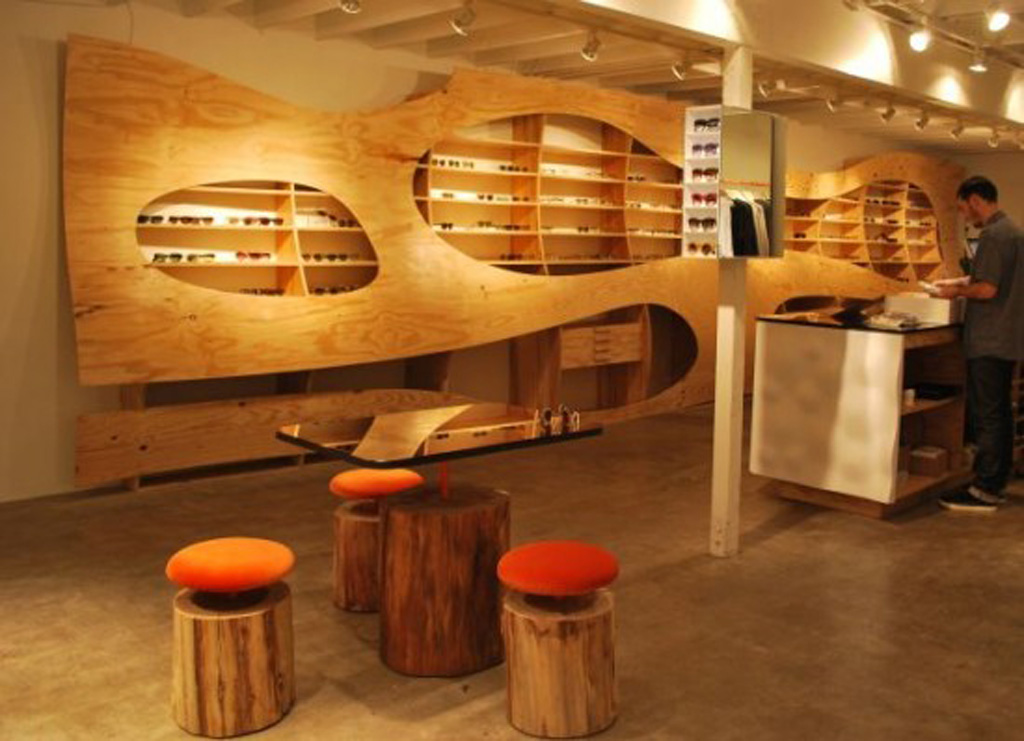 Modern wooden interior decor for Boutique interior design