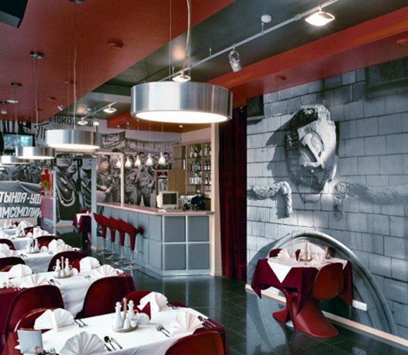 red restaurant furniture idea