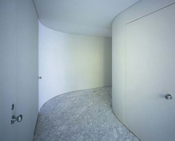white concrete hall way decor