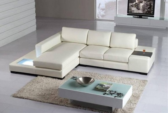white leather sofa idea