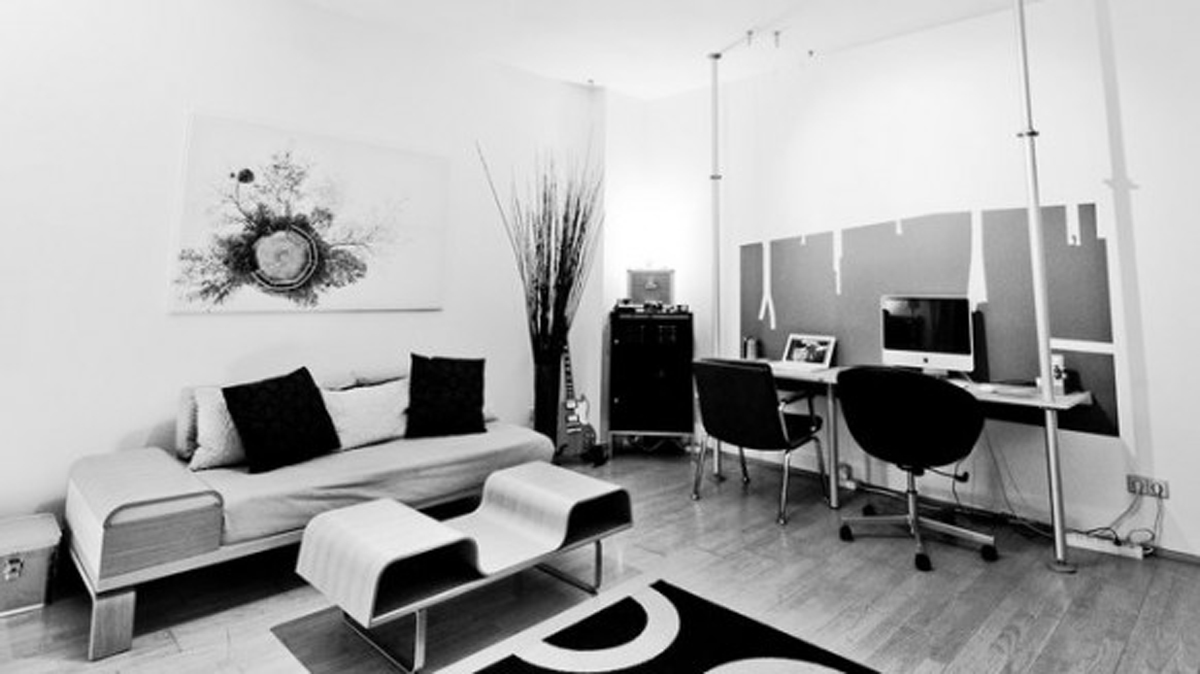 black and white home office designs