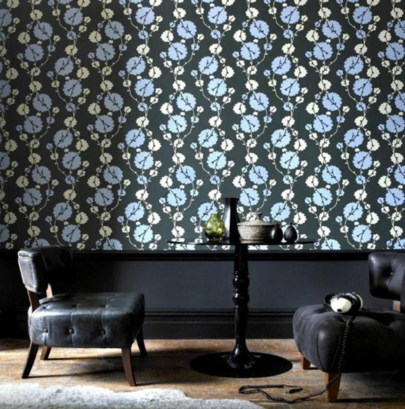 black vinyl wallpapering decor