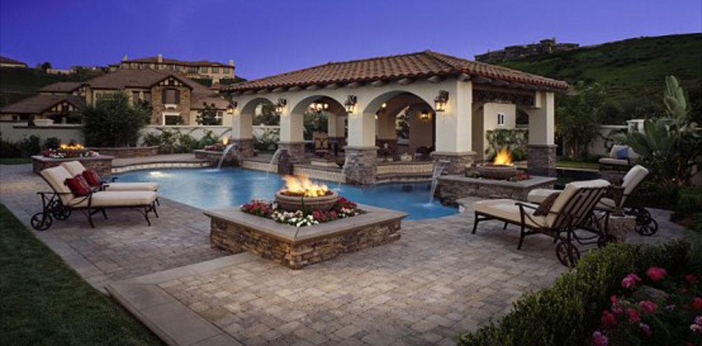 Sensible patio ideas plans around the usa for Pool decor design