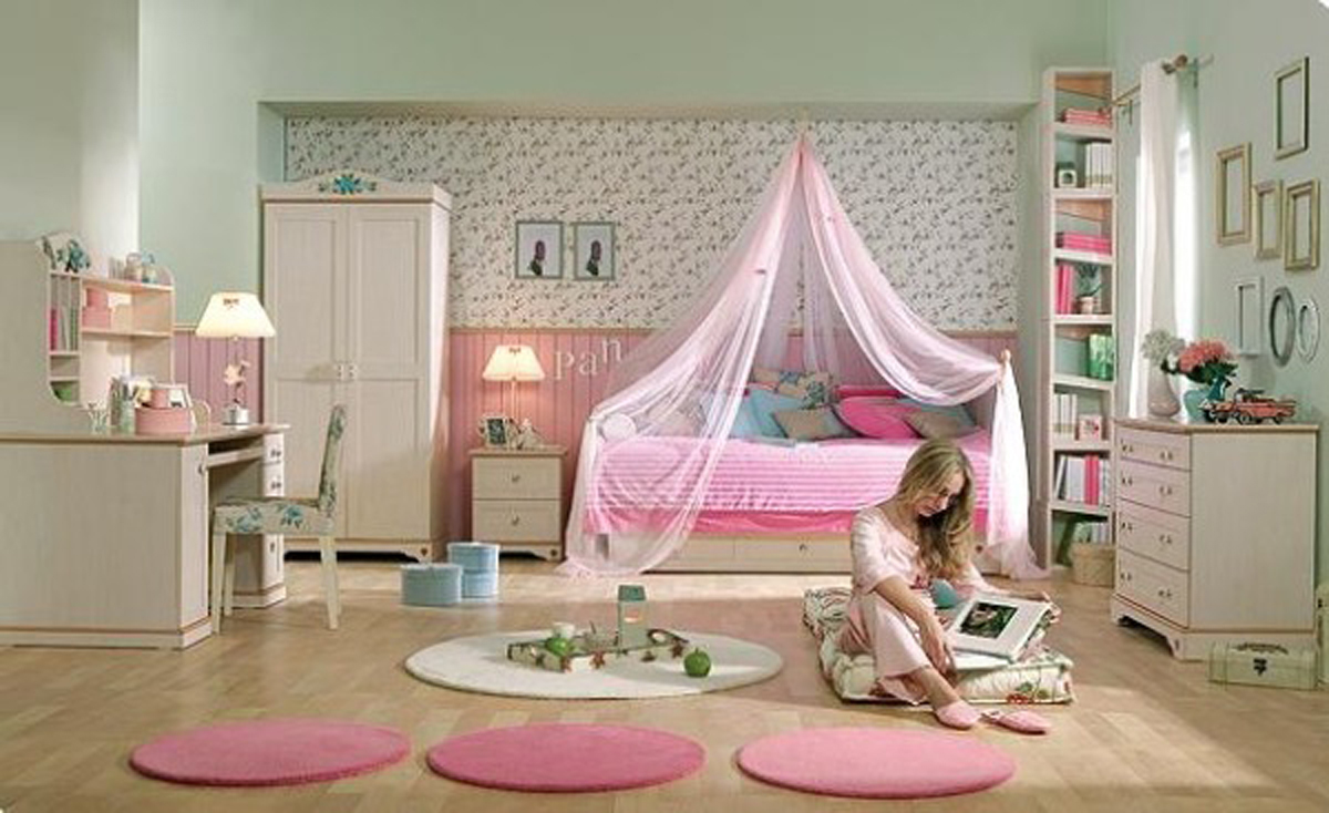 Classic teenage girls room decor for Pink teenage bedroom designs