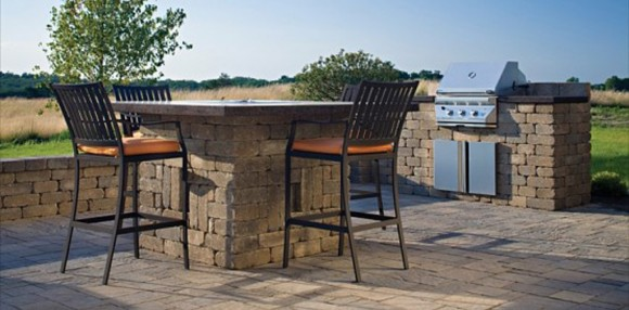 integrated outdoor kitchen decor