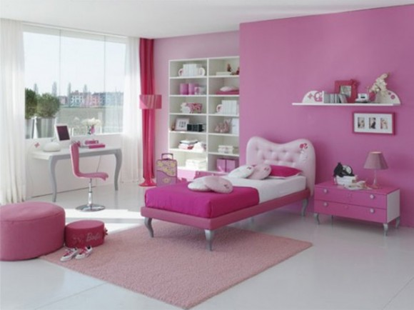 modern pink girls room inspiration
