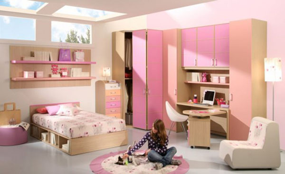 Pink cool teenage room designs for Cool teenage bedroom designs