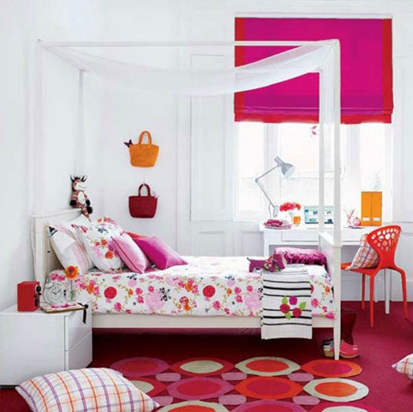 retro pink girl room ideas