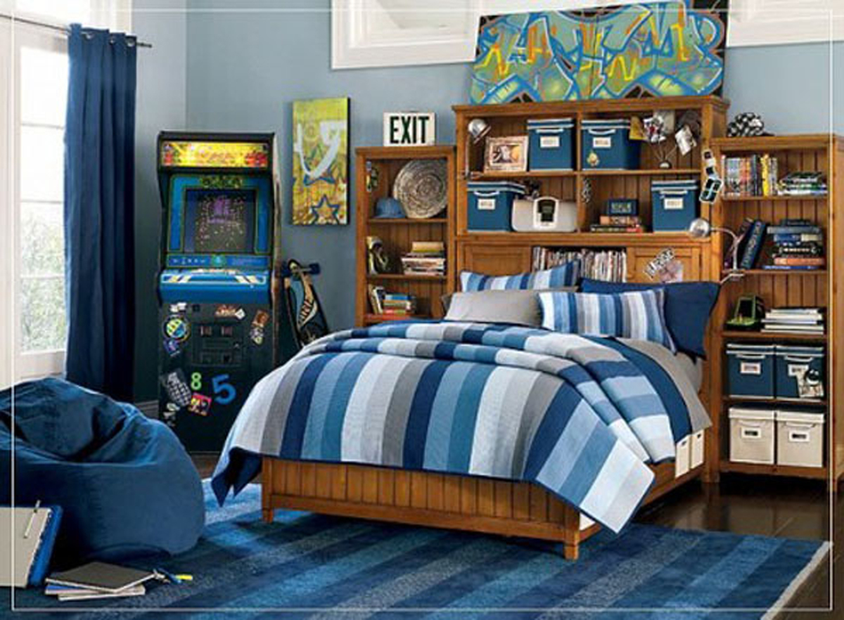 Modern blue color scheme for boys kids bedroom for Male teenage bedroom ideas
