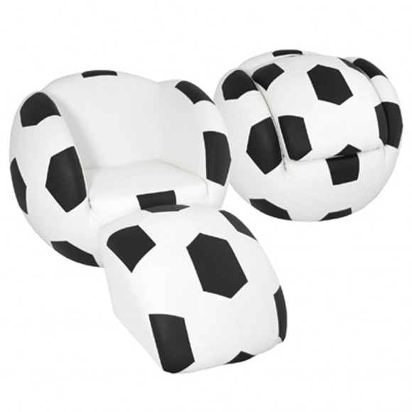 black and white soccer chair decorations