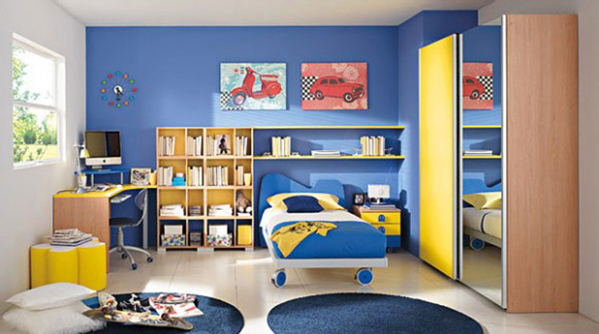 Modern Kids Room Design with Blue Color Scheme Decor - Iroonie.