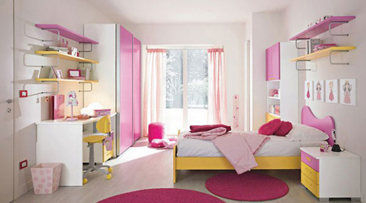 Feminine girls bedroom plans for Pink bedroom designs for teenage girls
