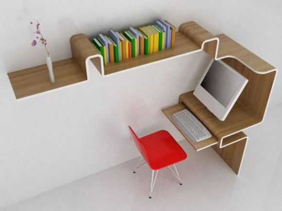 integrated bookshelf and work space ideas