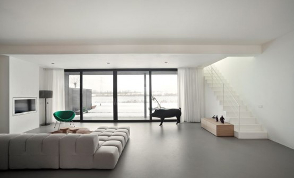 Over view urban house living room design for Urban minimalist house