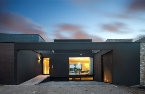 simple black urban house exterior decor