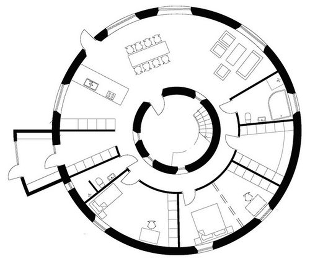 Unique round wooden house plans Weird floor plans