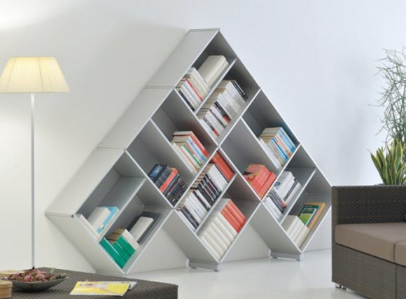 white pyramid bookshelf decor