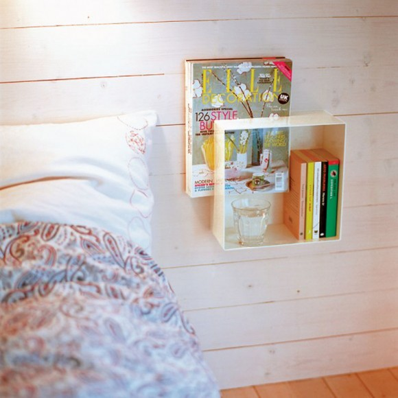 wooden bedside table decor