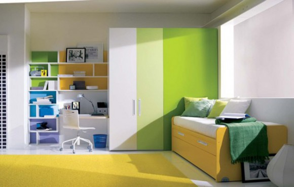 inspirational green color decor for teen room