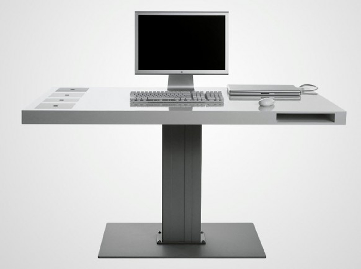 Modern futuristic office table designs for Modern minimalist office design