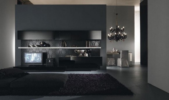 dark mysterious house living space designs