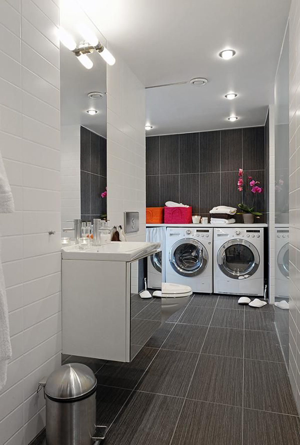 Integrated bathroom laundry room decor for Modern apartment bathroom ideas