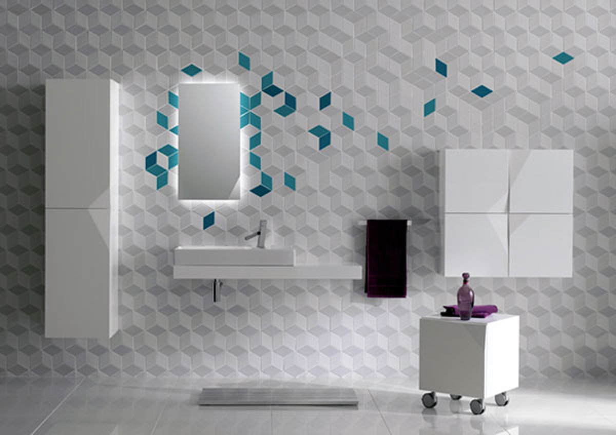 Futuristic bathroom wall tile decor for Modern bathroom wall tile designs