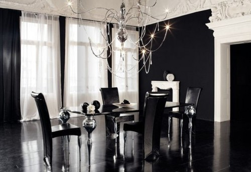 Contemporary-luxury-black-dining-room-interior-design-with-modern-black-chiars-and-glass-table-design-ideas.
