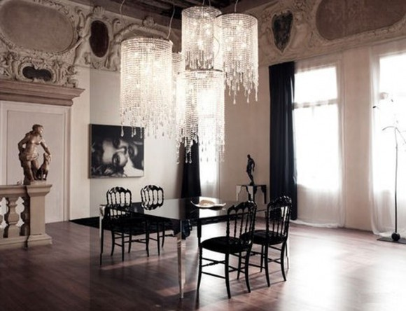 luxury dark dining room decorations