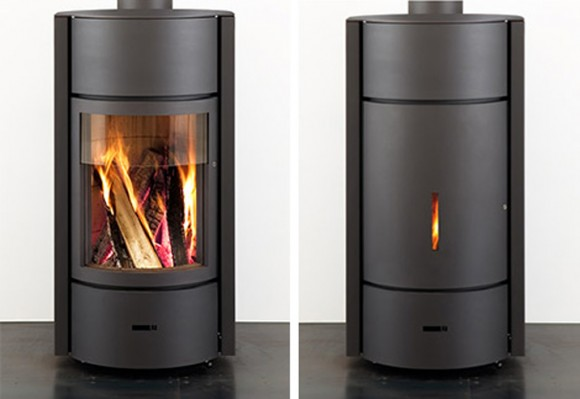 minimalist house wood burning stove decor